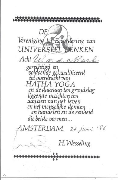 Certificaat Hatha Yoga Wil van der Mark-Wilmink
