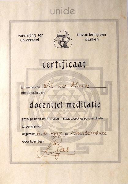 Certificaat Meditatie Wil van der Mark-Wilmink