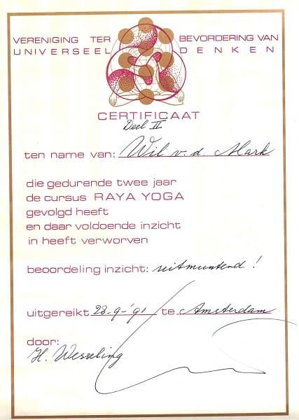 Certificaat Raya Yoga