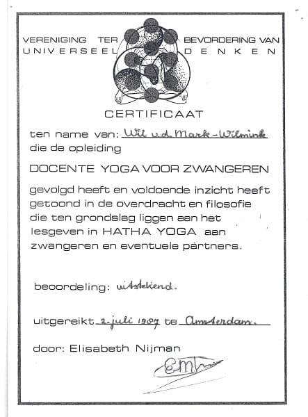 Certificaat Zwangerschapsyoga